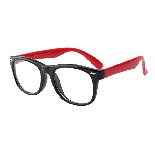 Juleya Juleya Kinder Gläser Rahmen - Silikon - Kinder Brillen Clear Lens Retro Reading Eyewear für Mädchen Jungen - 180710ETYJJ07