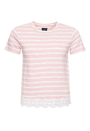 Superdry Lace Mix tee Camiseta, Rosa (Pink Stripe 2u6), M (T