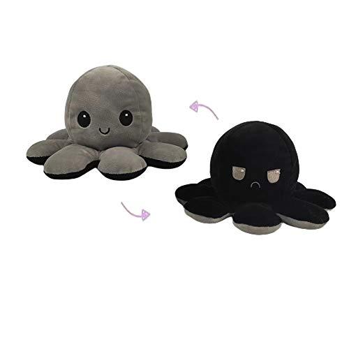 Mountain stream Octopus Plüschtiere Kuscheltier,Reversible Octopus Plush zum Wenden,Weiche Reversible Octopus, Kreative Spielzeuggeschenke für Kinder, Familie, Freunde,Schwarz + Grau