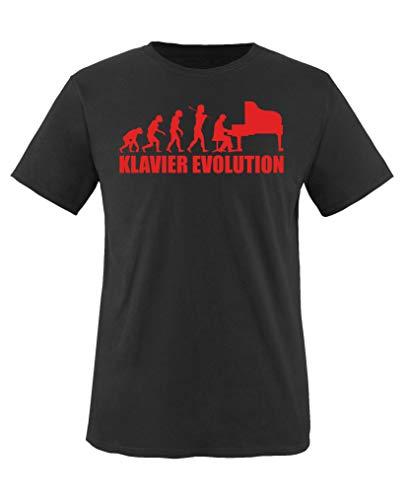 Comedy Shirts - Klavier Evolution - Mädchen T-Shirt - Schwarz/Rot Gr. 152-164