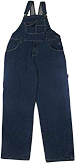 Adults Mens Denim Dungarees Jeans Straps Clips Zip Fly Two Button Side Open On One Side Blue Stone Wash Two Side Pocket On...