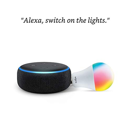 Echo Dot (Black) Combo with Wipro 12W Smart Color Bulb - Smart Home Starter Kit