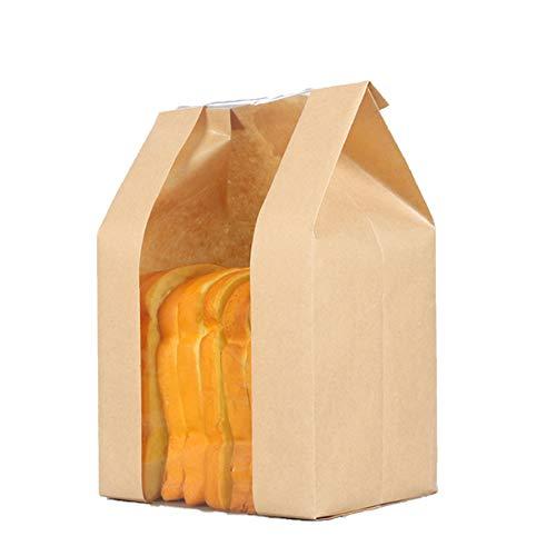 Paquete de 50 bolsas de pan de papel Kraft para envases de alimentos con ventana frontal, etiqueta engomada incluida (30 x 20 x 9 cm) (amarillo)