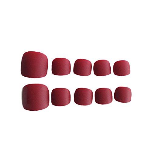 24Pcs French False Toenails Matte Fake Toe Nails Full Cover Pedicure Artificial Art Toenail Tips for Women Girls Wine Red Color