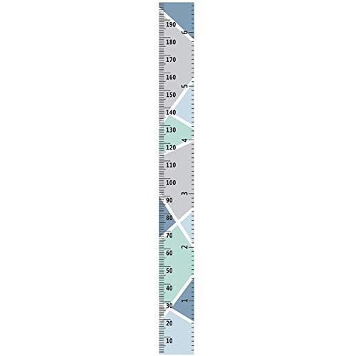 Ogquaton Messlatte für Kinder, Messlatte, Wachstumswanddiagramm für Kinder, zum Aufhängen, Lineale für Kinderzimmer, Wanddekoration, abnehmbare Höhen- und Wachstumsdiagramm (blau)