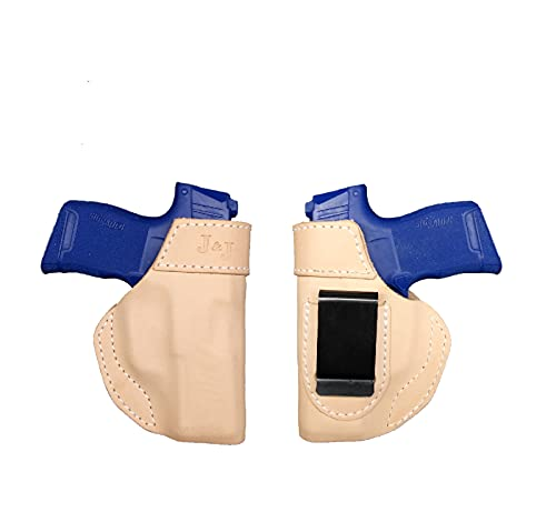J&J Custom Formed to FIT KAHR CW9 OWB W/ Belt Clip Natural Leather Holster (Right)
