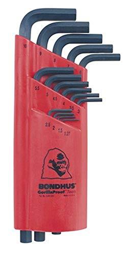Bondhus 12195 Set of 15 Hex L-wrenches, Long Length, sizes 1.27-10mm