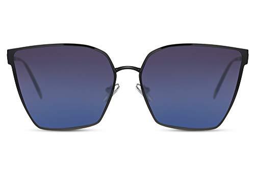 Cheapass Gafas de Sol Grandes Pentagonal Negras Metal Mujeres Estilo Negras a Azul Gradual Lentes Protección UV400