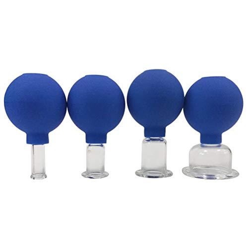 EXCEART 4Pcs Corps Ventouses Massage Silicone Ventouses à Vide Ventouses Faciales pour Les Rides Anti Cellulite Corps Tasse (Bleu)