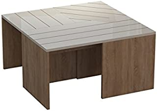 Ada Home Décor Cameron Coffee Table, 31'' x 17'' x 31'', Oak & White