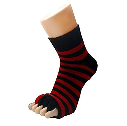 Bcurb Comfy Open Toe Foot Socks Relief for Bunions Hammer Toe Yoga Gym Massage Five Toe Separator Spacer Stretcher (Black/Red, Medium)