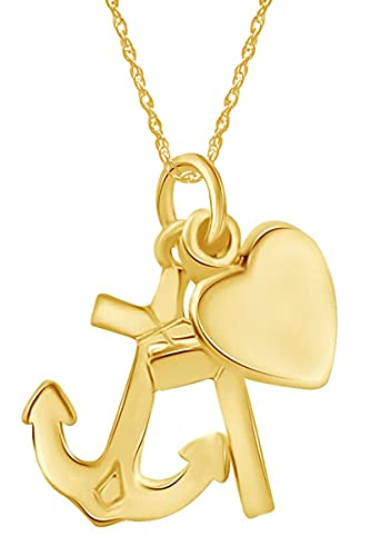 Wishrocks 14K Yellow Gold Over Sterling Silver Anchor Cross Heart Pendant Necklace