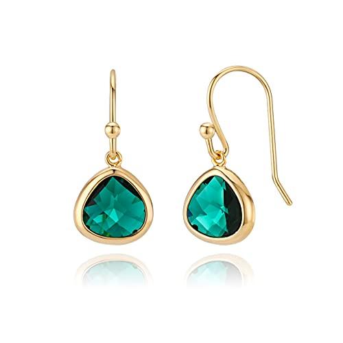 Simulated Green Emerald Drop Earrings