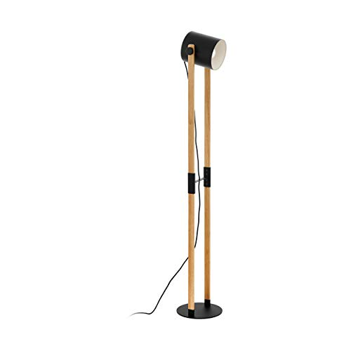 EGLO Stehlampe Hornwood, 1 flammige Vintage Standleuchte im Industrial Design, Retro Standlampe aus Stahl und Holz, Farbe: schwarz, creme, braun, Fassung: E27, inkl. Trittschalter