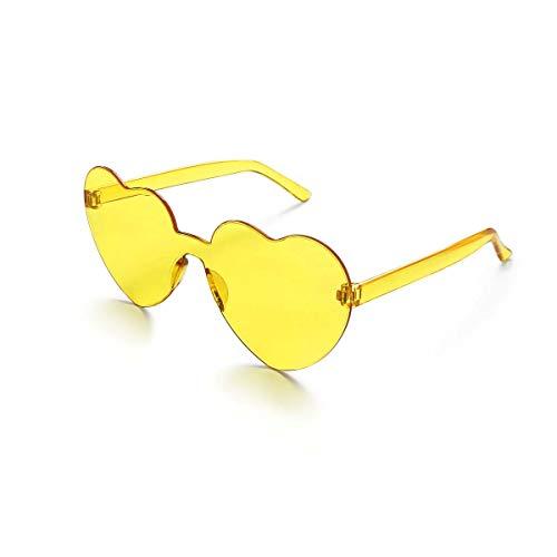 Lorigun Gafas de Sol con Forma de corazón Gafas de Sol Transparentes Color del Caramelo Sin Marco Sin Montura Gafas con Color para la Fiesta Cosplay (Amarillo)