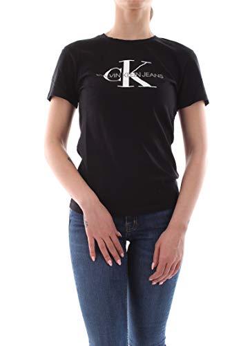 Calvin Klein Jeans Damen Core Monogram Logo Regular Fit Tee T-Shirt, Schwarz (Ck Black 099), Small (Herstellergröße: S)
