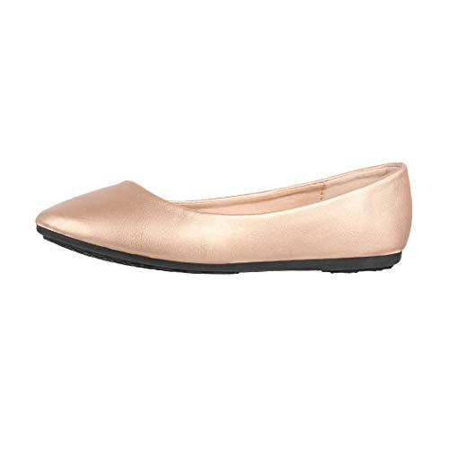 Elara Damen Ballerina Bequeme Slip Ons Flach Chunkyrayan DY 10A Champagne 37