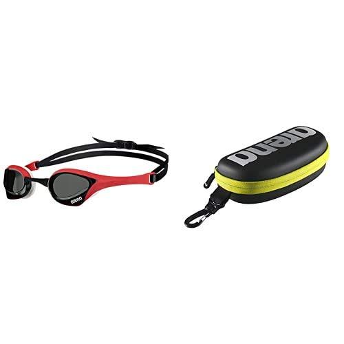ARENA Cobra Ultra Gafas de natación, Unisex Adulto, Smoke/Red/White, Talla Única + 000001E048-503 Estuche para Gafas de Natación, Unisex Adulto, Multicolor (Black-Silver-Fluo Yellow)