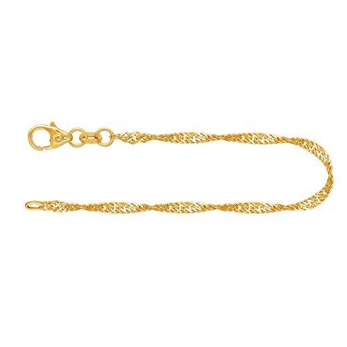 Elegantes Damen Armband Echt Gold 2,2 mm, Singapurkette 585 aus Gelbgold, Goldarmband mit Stempel und Karabinerverschluss, Länge 18,5 cm, Gewicht ca. 1,8 g, Made in Germany