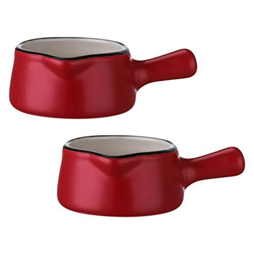 Hemoton 2 Unidades Mini Jarras de Cerámica para Crema de Café Y Leche 50Ml para Servir Jarras para Salsa Jarras para Leche Jarras de Inmersión con Mango Rojo