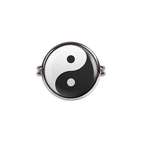 Mylery Ring mit Motiv Yin Yang Schwarz Weiß Taiji Silber 16mm