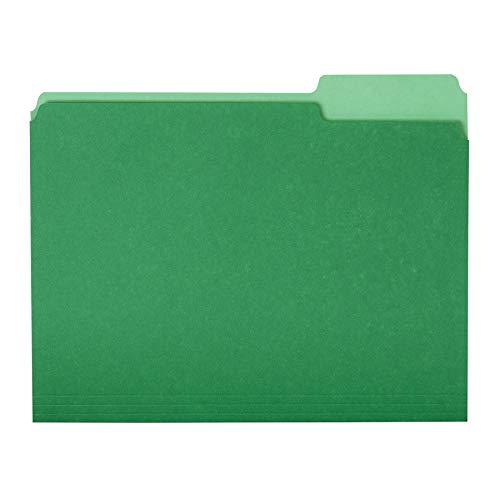Amazon Basics File Folders, Letter Size, 1/3 Cut Tab, Bright Green, 36-Pack