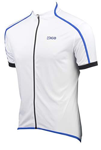 EIGO Classic Maillot à Manches Courtes pour Homme Blanc/Bleu Taille M