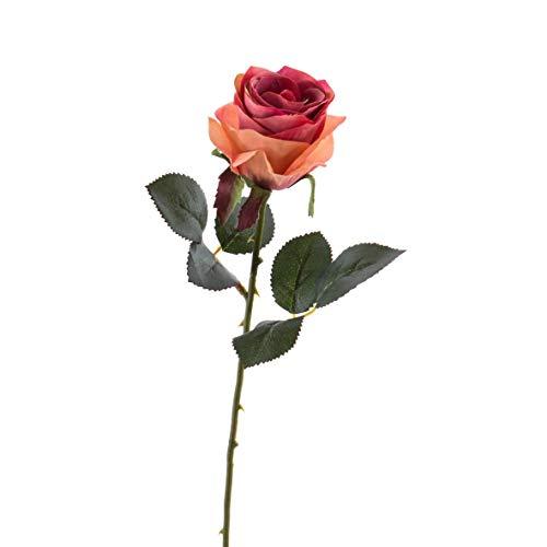 artplants.de Künstliche Rose Simony, lachs - rosa, Textil, 45cm, Ø 8cm - Kunstblume - Kunstrose