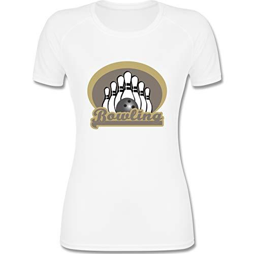 Shirtracer Bowling & Kegeln - Bowling Old School - XL - Weiß - Bowlingkugel - F355 - atmungsaktives Funktionsshirt für Damen