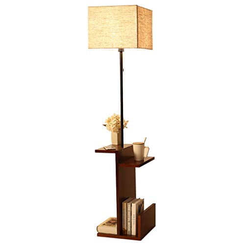 QTDH Houten LED-vloerlamp licht met boekenrek sofa bijzettafel moderne dimbare sofa salontafel lamp leesstaander licht voor woonkamer slaapkamer