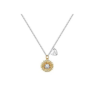 MONOZO Initial Sunflower Necklace for Women Girls, 14k Gold Plated Sunflower Necklace Pendant CZ Heart Letter Initial Necklace You are My Sunshine Gifts Sunflower Jewelry for Girls A