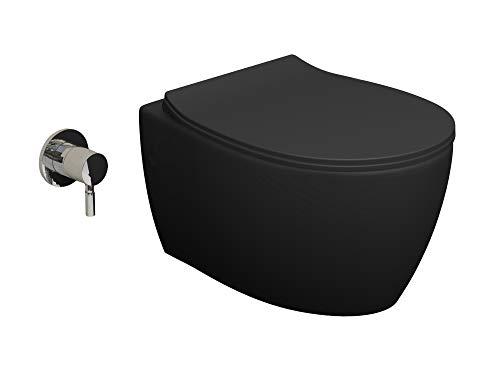 Aqua Bagno Spülrandloses Dusch-WC inkl. WC-Sitz | Keramik anthrazit matt | Taharet WC | Toilette mit Bidetfunktion