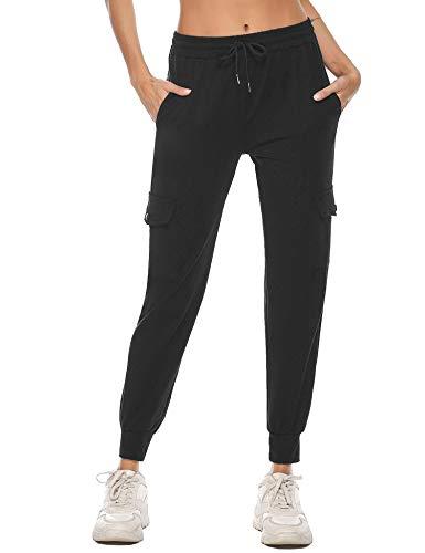 iClosam Pantaloni Tuta Donna in Cotone Pantaloni Sportivi Donna con Tasche Pantaloni Jogger Morbidi Leggeri per Jogging Fitness Nero M