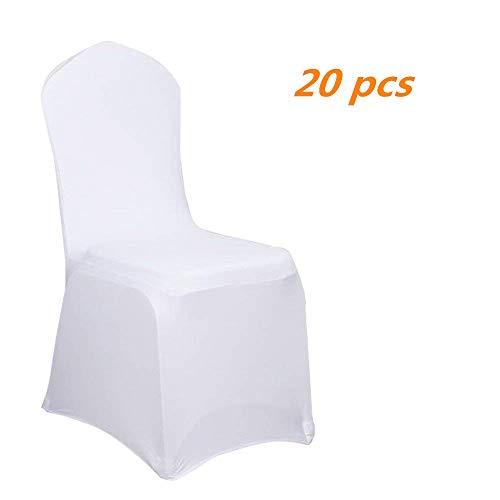 Aufun Stuhlhussen Stretch 20 stück Weiß Stretchhusse Universell Moderne Stuhl Husse Abdeckung im Lycra Stuhlbezug für Hochzeit Taufe Geburtstagsfeier Dekoration Feiern Haus