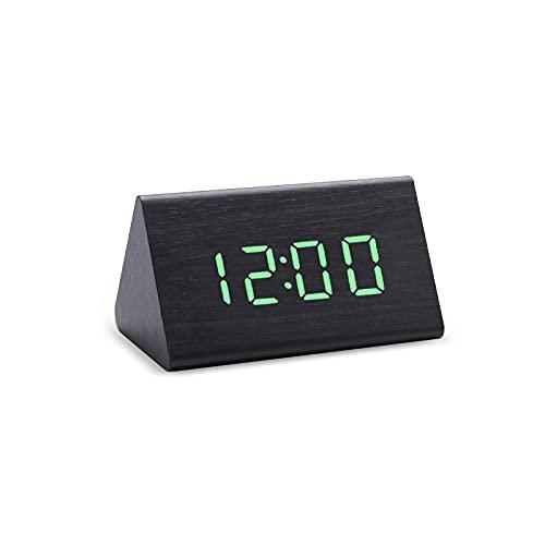 Reloj Digital LED Reloj Despertador de Madera Mesa Control de Sonido Relojes electrónicos Escritorio USB / AAA Powered Desperadoes Home Table Decor s-Blackgreen