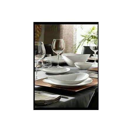 Bormioli- Prometeo- Service de 37assiettes pour 12personnes, avec saladier - Blanc