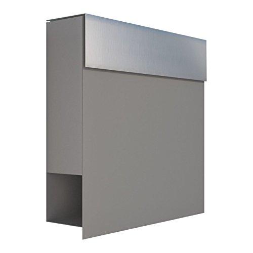 Briefkasten mit Zeitungsfach, Design Wandbriefkasten Manhattan Grau Metallic/Edelstahl - Bravios