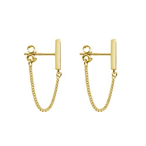Minimalist Bar Earrings with Chain Sterling Silver Thread Earrings Gold Dangle Earrings for Women