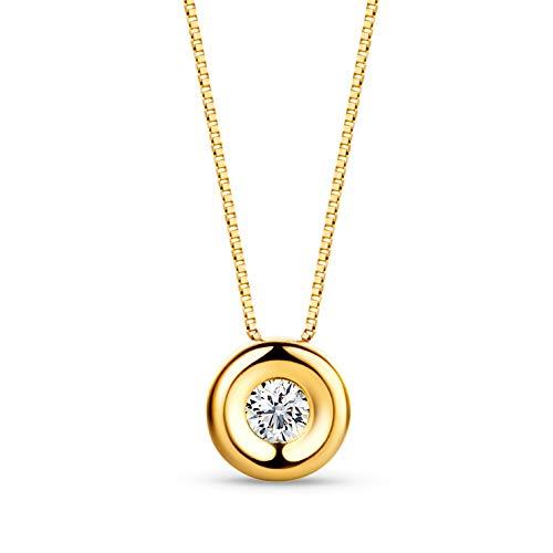 Orovi Ciondolo Donna con Diamante taglio Brillante Ct. 0,05 Collana Punto Luce in oro Giallo 18k 750 con Diamante Solitario, catena in Oro 18K 750 Lunga 42Cm