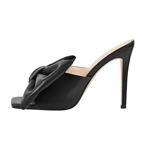 Only maker Damen Pantoletten mit Schleife Eckige Sandalen mit Stiletto Schwarz 46 EU