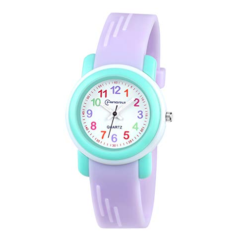 Image of Kids Analog Watch for Girls Boys Watches Waterproof Children Time Teacher Toddler Analog Quartz Wrist Watches for Child Gift (Purple)