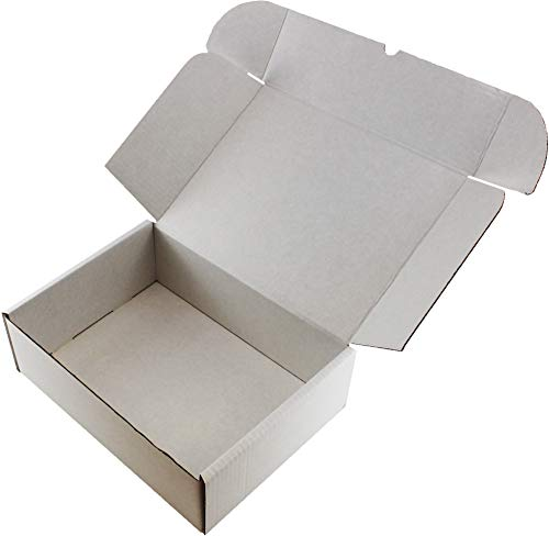 WHITE OR BROWN SHIPPING CARDBOARD BOXES POSTAL MAILING GIFT PACKET SMALL PARCEL (12' x 9' x 4', WHITE, 10)