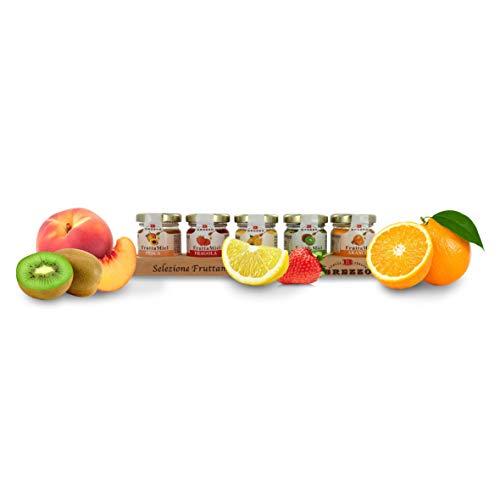 Brezzo Confezione Degustazione di FruttaMiel, Miele Aromatizzato con Frutta, 5 Gusti, Peso Tot. 190 Grammi