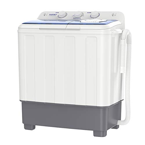 KUPPET Portable Compact Mini Washing Machine,Twin Tub 26.4 lbs Capacity,Washer(17.6lbs)&Spiner(8.8lbs),Built-in Drain…