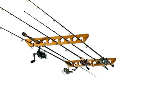Old Cedar Outfitters Solid Pine Horizontal Ceiling Rack for Fishing Rod Storage, Holds up to 9 Fishing Rods, CPR-009