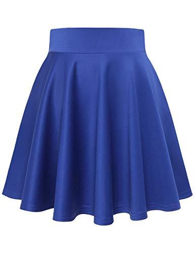 MuaDress 9001 Damen Mädchen Basic Mini Rock Solide Glocken dehnbaren informell Röcke Royalblau Mini XL