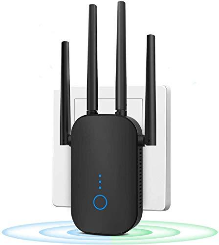 Repetidor WiFi 1200Mbps 2.4 GHz y 5GHz Amplificador Señal de Red WiFi de Doble Frecuencia Punto de Acceso Inalámbrico Enrutador WiFi Extensor,4 Antenas,Puerto Ethernet, con Ap/Repeater/Router Modos