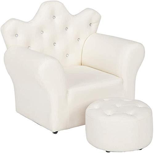 WDNMD Stylisches Mini-Sofa-Set für Kinder, aus Schwamm, PVC, Sessel, Stuhl, Kunstleder-Sitz, mit Fußhocker, zum Entspannen, Spielzimmer, Mädchen, Prinzessin (Farbe: Weiß)