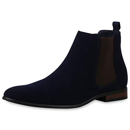 SCARPE VITA Herren Chelsea Boots Stiefel Holzoptik Blockabsatz Knöchelhohe Schuhe Wildlederoptik Schlupfschuhe Kurzschaftstiefel 196525 Dunkelblau 39