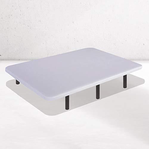Dreaming Kamahaus Base Tapizada con Tejido 3D AirFresh | Color Blanco | 7 Barras transversales | Estructura metálica 40x30mm | Tablero Perforado | 135 x 180 cm | Patas 40 cm